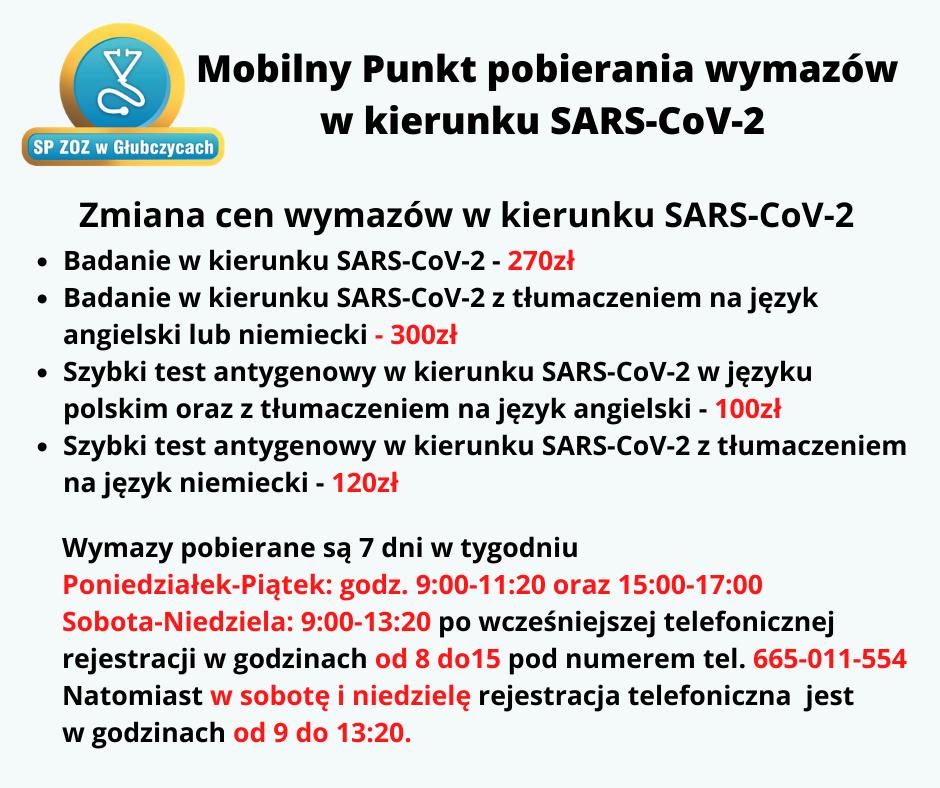 Ceny wymazów w kierunku SARS-Cov2