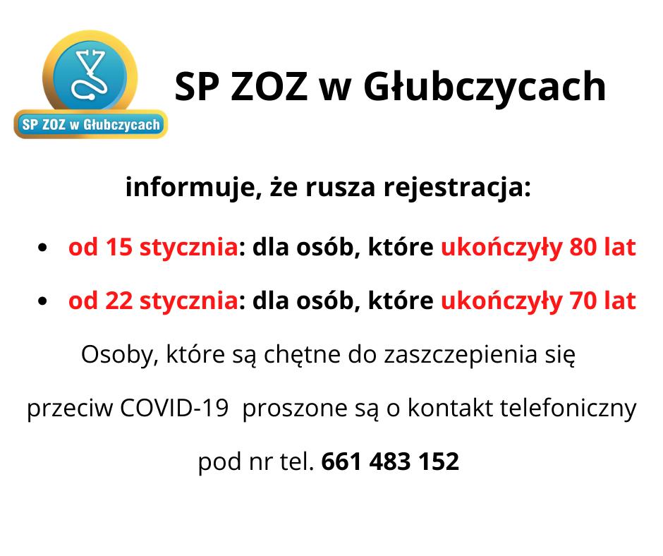 Rejestracja na szczepienie przeciw COVID-19 dla osób powyżej 80 i 70 lat