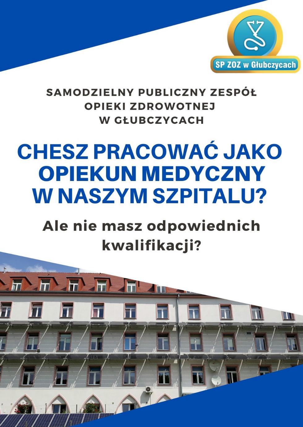 SP ZOZ w Głubczycach zatrudni opiekunów medycznych