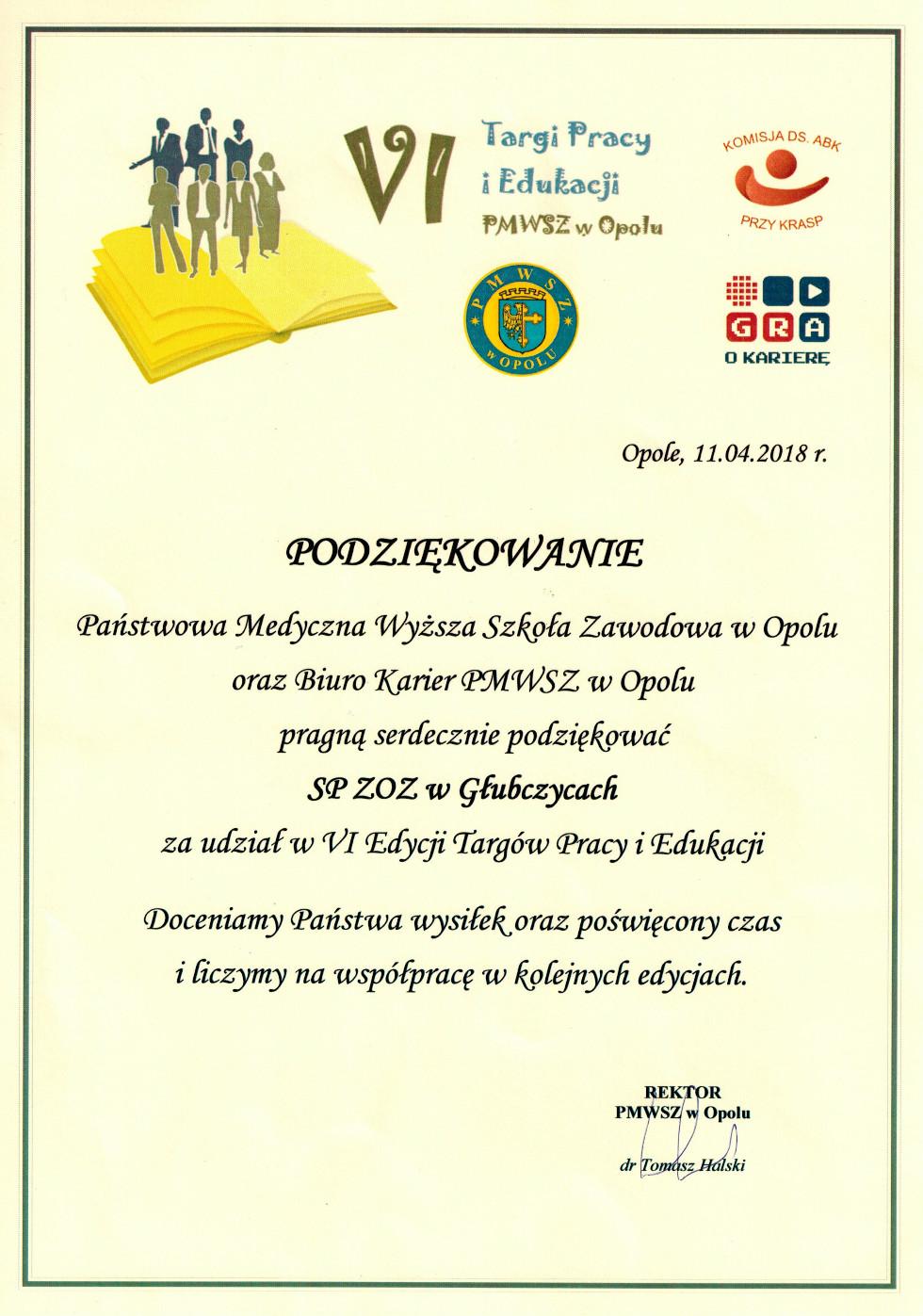 Podziękowania dla SPZOZ w Głubczycach za udziałw targach pracy